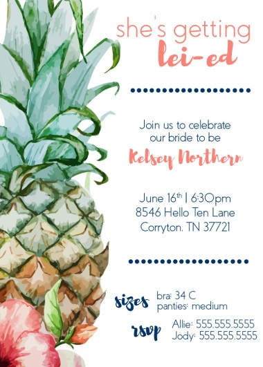 Bachelorette Party Invitation *information changed for privacy